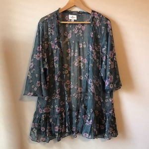 American Eagle Sheer Floral Shawl - L/XL